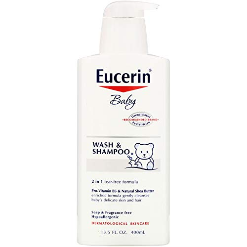 Eucerin Baby Wash & Shampoo - 2 in 1 Tear Free Formula, Hypoallergenic & Fragrance Free, Nourish and Soothe Sensitive Skin - 13.5 fl. oz. Pump Bottle (Pack of 3)