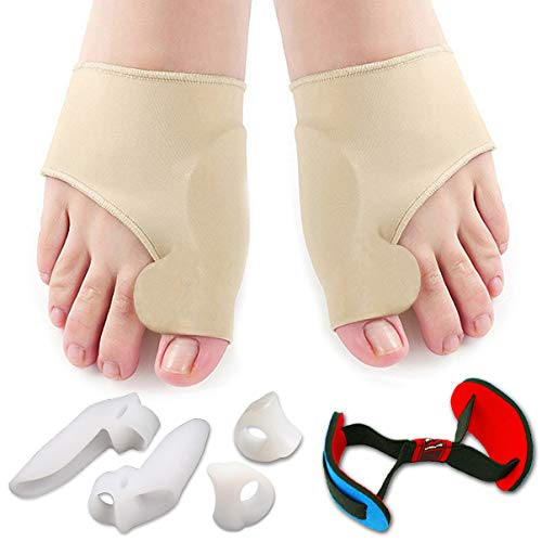 Treat your feet with our carefully selected 7 pieces set. The package is designed for bunion Corrector and bunion relief. One Size Fits Most Feet. Relieve your pain, treat your bunion, reduce friction between your toes and enjoy walking again. Separa...