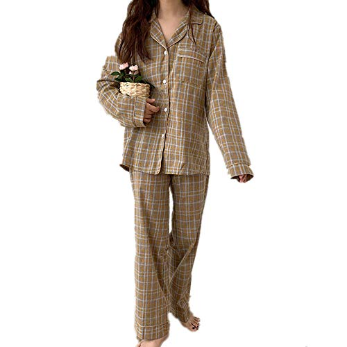 Home Suit Frauen Baumwolle Plaid Pyjama Set Herbst Winter Lange Ärmel Hosen...