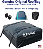 RoofBag Rooftop Cargo Carrier, Made in USA, 15 Cubic Feet. Waterproof Car Top Carriers for Cars with Racks or Without Racks Include Roof Protective Mat, Storage Bag and Straps
