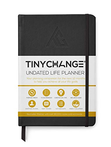 TINYCHANGE Undated Life Planner Diary A5; Daily Weekly and Organizer Notebook Habit Tracker and Gratitude Journal with Productivity eBooks; Free to do List Booklet; Stickers Bookmarks