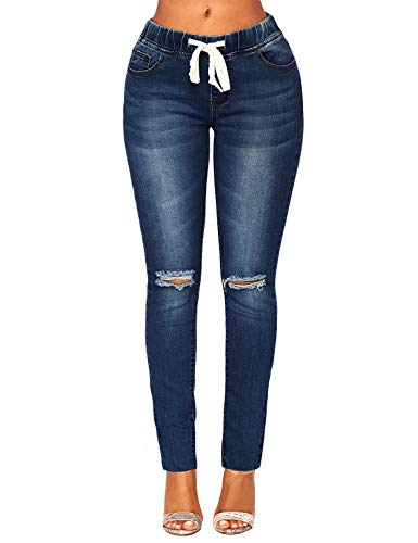 ACKKIA Women's Elastic Waist Skinny Stretch Ripped Distressed Slim Denim Jeans Pants Blue Color, Size L