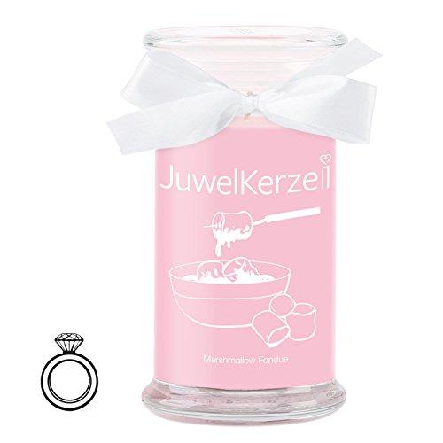 JuwelKerze Marshmallow Fondue - Kerze im Glas mit Schmuck - Große rosane Duftkerze mit Überraschung als Geschenk für Sie (Silber Ring, Brenndauer: 90-120 Stunden)(M)