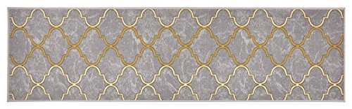 Trellis Design Printed Slip Resistant Rubber Back Latex Runner Rug and Area Rugs 3 Color Options Available (Grey, 23