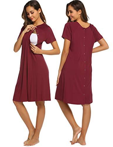 Umstandskleid Damen Stillnachthemd Kurz Umstandsnachthemd Umstandstop Schlafanzug Stilloberteil Nachthemd mit Stillfunktion Nachtwäsche mit Knopfleiste für Schwangere Sommer