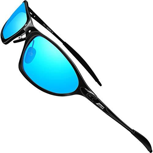 ATTCL Gafas de sol polarizadas para hombres protección UV conducción Pesca Al-Mg Metal Deportes Sunglass 7005 Negro, Azul (Espejo negro/azul.), Medium