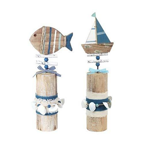 CAPRILO. Set de 2 Adornos Decorativos de Madera Pez y Barco sobre Tronco Adornos y Esculturas. Decoración Marinera. Hogar. Regalos Originales. 33 x 8 x 8 cm.