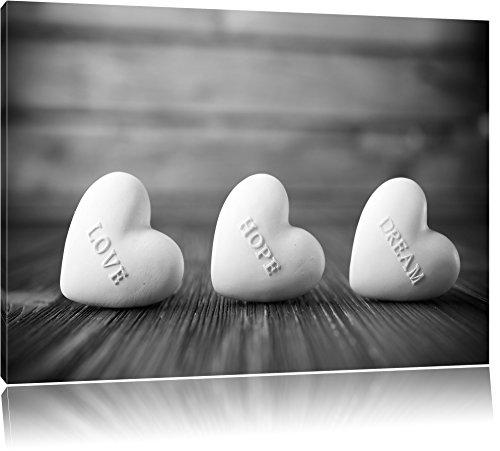 Pixxprint Love Hope Dream Hearts Schwarz/Weiß, Format: 100x70 auf Leinwand