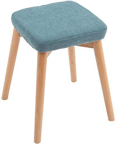 JIEER-C eetkamerstoelen voor de vrije tijd, van hout, frame van massief hout, stapelkruk van linnen met praktisch linnen 1 pieces Green 2