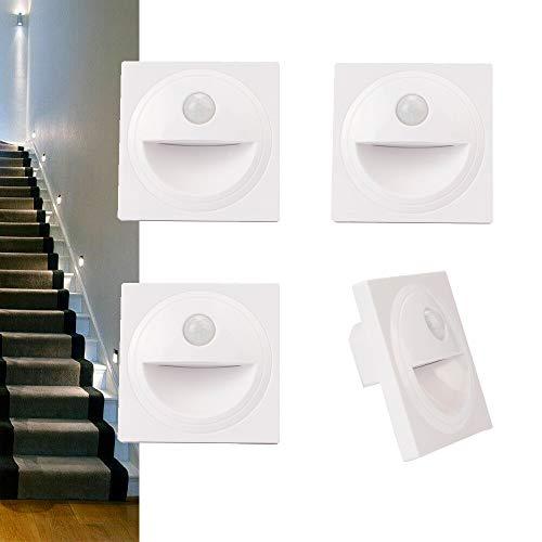 Arote LED Treppenlicht mit Bewegungsmelder Treppenleuchte Treppenbeleuchtung Wandeinbauleuchte Stufenlicht Beleuchtung Lampe, für 60er Schalterdosen, 4er Set, 230V kaltweiß 6000K