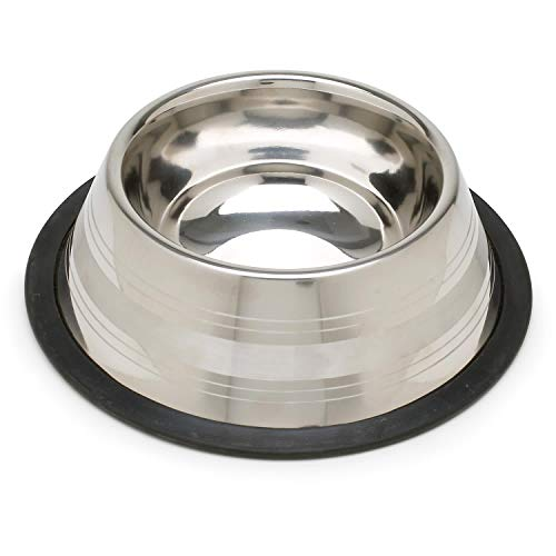 Harmony Two-Toned No-Tip Stainless Steel Dog Bowl, 10.5 Cup, X-Large, Silver