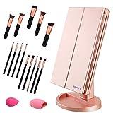 Espejo de Maquillaje, WEILY 1x / 2X / 3X Espejo de Maquillaje de Tres Pliegues con 21 Luces LED y Pantalla táctil Ajustable Espejo Iluminado Tocador Espejos cosméticos de encimera (Oro Rosa)