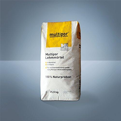 Multipor Lehmputz bzw. Lehmmörtel | ökologisches Naturprodukt als Ausgleichsputz, Kleber u.v.m | 25 kg/Sack