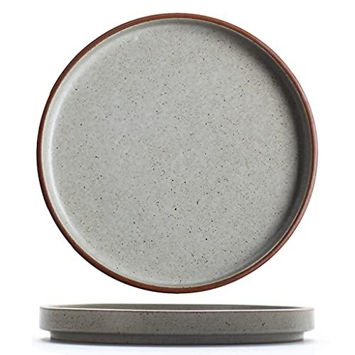 SDFB Plato de Carne de cerámica Retro japonés, Plato de Sopa de gres Hecho a Mano Personalizado de 6.5 a 10 Pulgadas, Plato de Aperitivo/Ensalada/Pasta/Pan/Plato de Carne