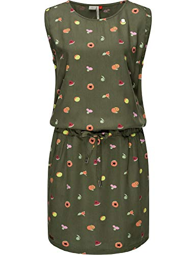 Ragwear Damen Kleid Dress Sommerkleid Strandkleid Jerseykleid Freizeitkleid Mascarpone Fruits Olive Gr. XS