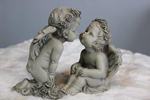 Unbekannt Rose Couple d'anges Balina, 2 Anges en Résine, Hauteur 13 et 15 cm, Ange