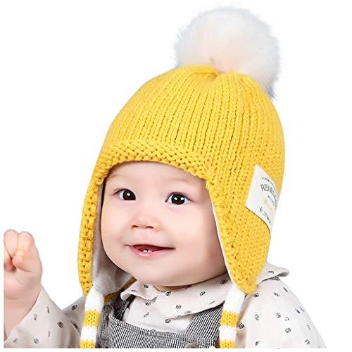 LianMengMVP Wintermütze Baby Jungen Mädchen Hut Kleinkind Earflap Beanie warme Häkel Strickmütze (Gelb)