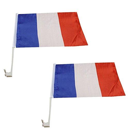 Sonia Originelli 2er Set Auto Flagge Fahne WM Länder Fußball Fan Farbe Frankreich