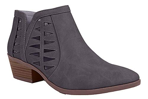 SODA CHANCE Womens Perforated Cut Out Stacked Block Heel Ankle Booties (Grey, numeric_11)