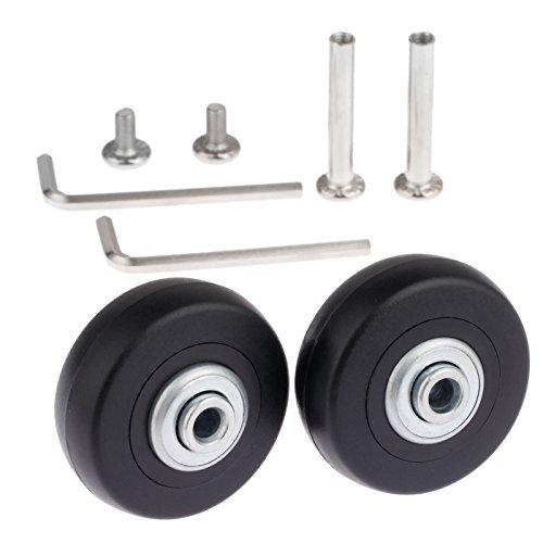 Set de 2 ruedas de repuesto para maleta, 50x 18mm, con ejes, rodamientos y llaves