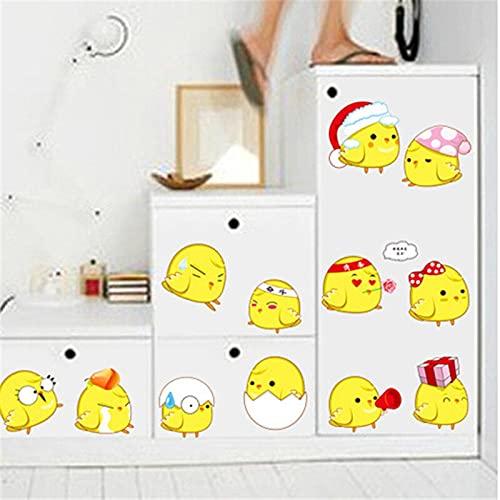 Dibujos animados amarillo pollito Diy pegatinas de pared nevera computadora decoración decoración pegatinas de pared para habitaciones de niños
