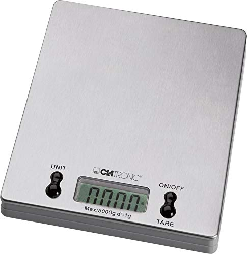 Clatronic Küchenwaage KW 3367, Wiegefläche aus Edelstahl, LCD-Display, bis 5kg in 1g-Schritten (g, kg, lb, oz), Tara-Funktion