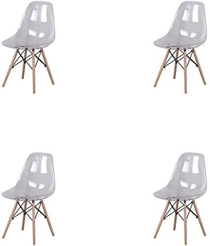 ZMALL - Juego de 4 sillas de comedor de acrílico transparente para muebles de cocina con patas de madera de haya resistente.