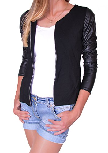 Mikos Damen Jacke mit Lederärmel Jacket Kap mit Reißverschluss S M L XL (176) (M)