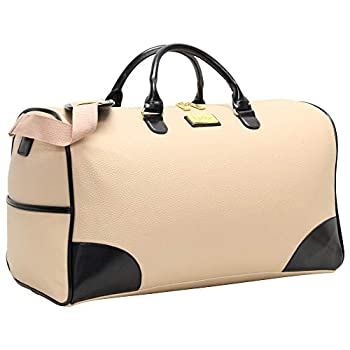 Nicole Miller New York Designer Duffel Bag Collection - Lightweight 21 Inch Travel Tote for Men & Women - Weekender Overnight Gym Carry On Suitcase  Cream/Navy