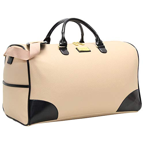 Nicole Miller New York Designer Duffel Bag Collection - Lightweight 21 Inch Travel Tote for Men & Women - Weekender Overnight Gym Carry On Suitcase (Cream/Navy)