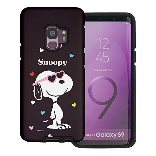 Galaxy S9 Plus ケース と互換性があります Peanuts Snoopy ピーナッツ スヌーピー ダブル バンパー ケース デュアルレイヤー 【 ギャラクシー S9 プラス ケース 】 (スヌーピー なサングラス 黒) [並行輸入品]