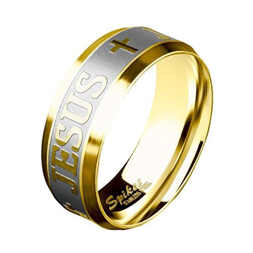 beyoutifulthings Jesus Kreuz sandgebürstet Band-Ring Finger-Ring Chirurgenstahl 316L Verlobungs-Ring Partner-Ring Trau-Ring Gold 57(18.1)