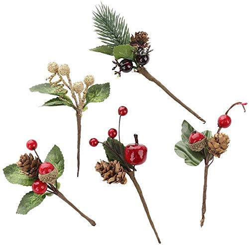 Lovehut 20Pcs Christmas Pine Picks with Red Berries and Pine Cones Artificial Berry Picks for Christmas DIY Crafts Gift Package Party Flower Arrangements Wreaths and Holiday Decorations