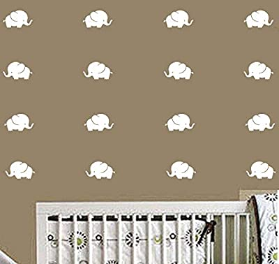 CHRIS Elephant Wall Decals/Nursery Wall Stickers/Baby Room Decor/Animal Vinyls, Removable Vinyl Wall Stickers for Baby Kids Boy Girl Bedroom Nursery Decor (White)