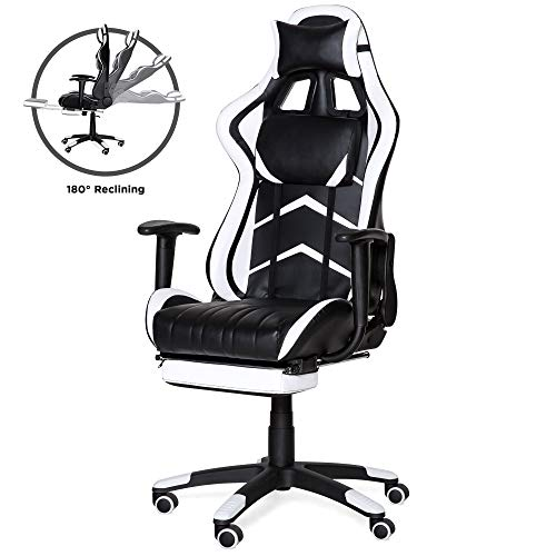 Best Choice Products Ergonomic Swivel Reclining Office Racing Gaming Chair w/Footrest, Lumbar Support - White
