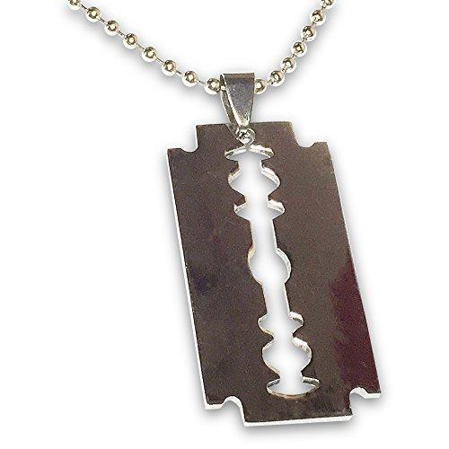 Orion Creations Unisex Rasierklinge Silber Ton-AnhŠnger-Halskette auf Kugelkette