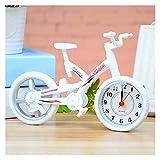 FANGLMY Despertador Forma Inicio de Bicicletas de la Vendimia con Estilo con Pilas de Escritorio de Oficina Decoración Infantil Despertador Niños Decoración hogareña (Color : White)