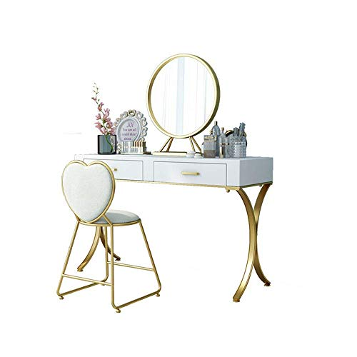 N/Z Home Equipment Dressing Table Nordic Simple And Light Luxury Dressing Table Solid Wood Bedroom Makeup Table No Chair Furniture Vanity Dressing (Color : White Size : 60x40x75cm)