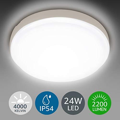 LE 24W LED Deckenleuchte IP54, 2200lm 4000K Ø26.5cm Badlampe, Wasserfest Deckenlampe, Neutralweiß, Lampen Ideal für Badezimmer, Küche, Wohnzimmer, Schlafzimmer, Balkon, Flur, Badezimmerlampe