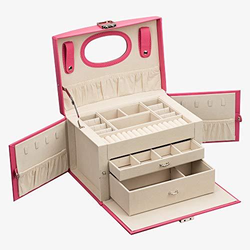 ADEL DREAM Szkatułka na biżuterię, szkatułka na biżuterię z 2 szufladami, zamykany organizer na biżuterię z lustrem, wyjmowane pudełko podróżne, na pierścionki, bransoletki, kolczyki, aksamitna podszewka (różowa czerwona (now))