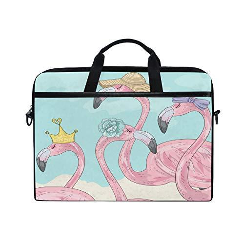 HAIIO Laptop Bag Case Cute Animal Flamingo Computer Protector Bag 14-14.5 inch Travel Briefcase with Shoulder Strap for Women Men Girl Boys