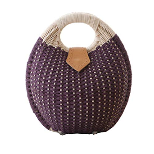 YVIVFHPWXF damestas vrouw pakket geweven retro handtas de ronde tas De vrouwen leuke shellknop-strandtas