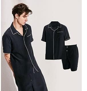 シルク100% メンズパジャマ 半袖 夏用 上下セット 高級 シルク 19匁 ナイトウェア
