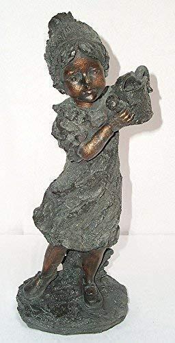 Linoows Figurine de Jardin, Fontaine, Sculpture Fille Avec Arrosoir, Jeune Fille de Fleur