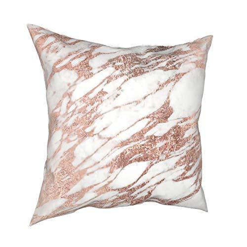 DearLord Chantelletion - Fundas de cojín de doble cara, cuadradas, elegantes, color blanco y oro rosa, para sofá, dormitorio, con cremallera invisible, 45,7 x 45,7 cm