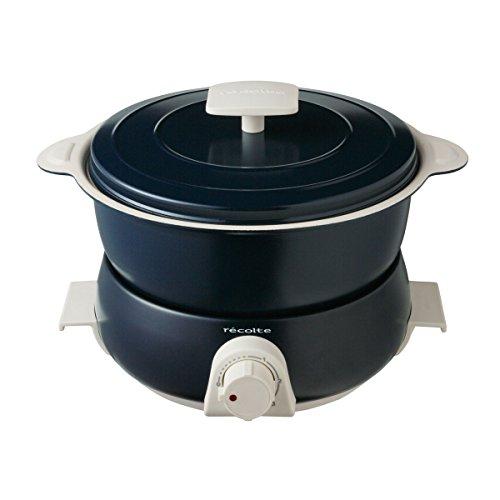 récolte(レコルト)レコルトポットデュオフェット[ネイビー/RPD-3]recoltePOTDUOfete電気鍋マルチクッカーネイビー本体(収納時):(約)幅24.0×奥行22×高さ17.5cm