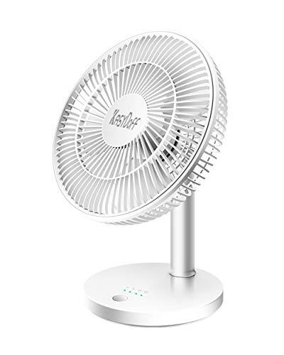 KASYDoFF scrivania Ventilatore USB da 10 Pollici Tabella Ventilatore con 4 velocità Ultra Silenzioso Mini Personali Fan 2000mah Batteria Ricaricabile Powered per la casa Ufficio Camera e Bianca di