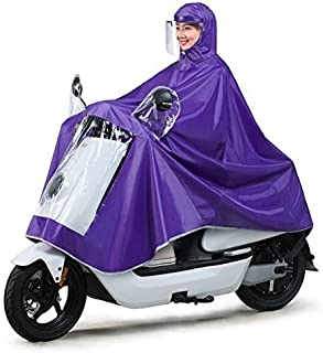 HYBAUDP Raincoat Poncho Set Single Electric Bike Raincoat, Oxford Cloth Portable Waterproof Hat Cap Thickening Ride Poncho for Outdoor Hiking Camping Unisex (Color : Purple, Size : XXXXL)