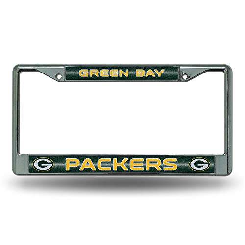 NFL Rico Industries Bling Chrome License Plate Frame with Glitter Accent, Green Bay Packers
