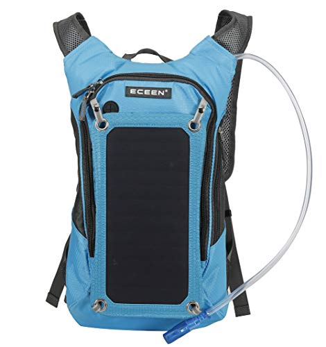 Solar Panel Backpack 2L Hydration Bag Removable Sun powered Emergency USB for Biking Camping Outdoor Sports Waterproof Power bank Drinking Pipe-blue-onesize
